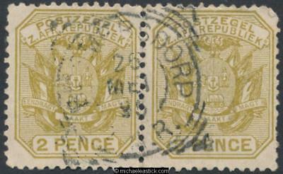 Swaziland 2 x SG Z22, 2d Transvaal wagon with pole, Bremersdorp, 25-05-1895