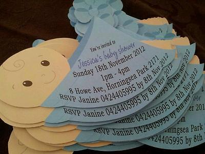 Personalised Baby Shower Invitations  Baby Sling shape with magnet + envelope