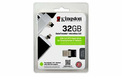 Kingston 32GB DTDUO3 MicroDuo USB 3.0 OTG Micro USB Flash Memoria Drive Stick