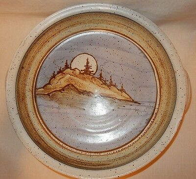 """Large 15"""" Hand Thrown Stoneware Serving Bowl Decorated Trees Moon signed Blue"""