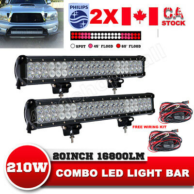 Pair 20Inch 210W CREE LED Light Bar Flood Spot Combo Work Driving Lamp Offroad