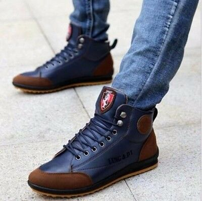 Homme Sneaker Bottes Bottines Basket Chaussures Cuir Souple Casual Mocassins