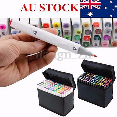 AU 7 DESIGNS 80 Colors SET Alcohol Graphic Art Twin Marker Pen Broad/Brush Tip