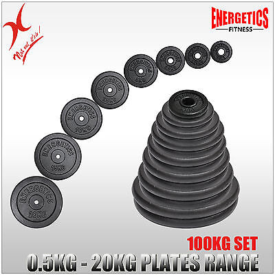 Total 100Kg Cast Iron Weight Plate Set - Energetics Weight Plates Set