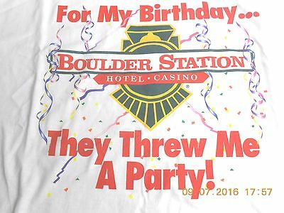 Boulder Station Casino-Happy Birthday T-Shirt Men's Xl