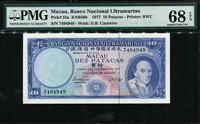 Macau 1977, 10 Patacas,Specific S.N-7494949,P55a,PMG 68 Top rated grading