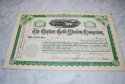 Stock Certificate - THE ORPHAN GOLD MINING COMPANY – COLORADO 1899