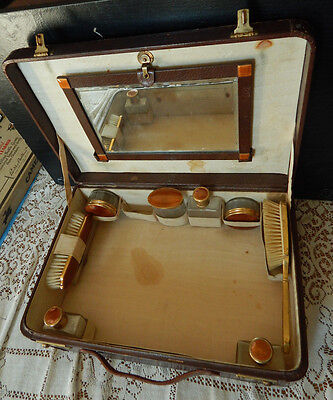 ANTIQUE LEATHER  Makeup**Toiletries✯Travel✯ Luggage*Train Case w/ ACCESSORIES