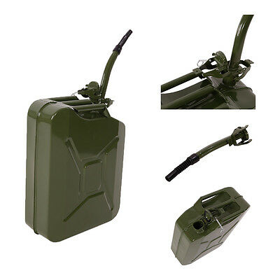 5 Gallon 20L Jerry Can Gasoline Fuel Can Steel Gas Tank Emergency Backup Green