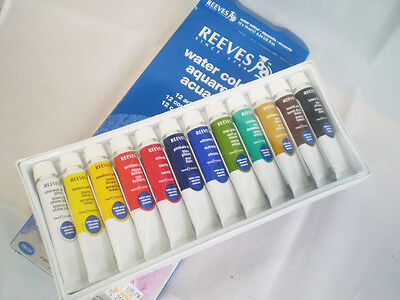 Reeves Set Watercolor Water Paint Color 12 Assorted Colors Pkg Colour 10ml Pack