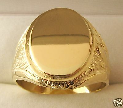 LARGE GENUINE SOLID 9ct YELLOW GOLD MENS SHIELD SIGNET RING UNBEATABLE  PRICE !