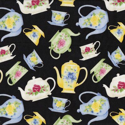 Floral Green Blue Yellow Tea Cups Teapots on Black Tea For Two Quilt Fabric FQ o