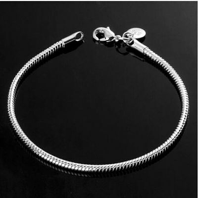 Chain Fashion 3MM Women Sterling Silver Charm Bracelet Plated Snake