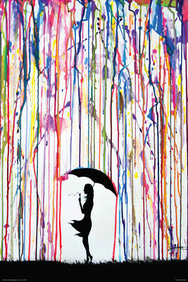 LAMINATED GIRL UMBRELLA WATERCOLOR MARC ALLANTE POSTER (91x61cm) DANDELION ART
