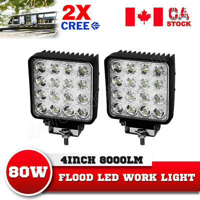 2X 80W PHILIPS LED Work Light Bar Flood Beam Off road 4WD ATV SUV TRUCK