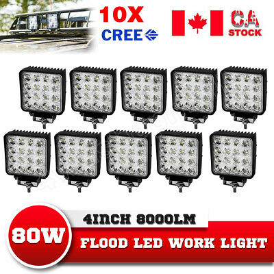 10X 80W PHILIPS LED Work Light Bar Flood Lamp Off Road 4X4 ATV 4WD Truck
