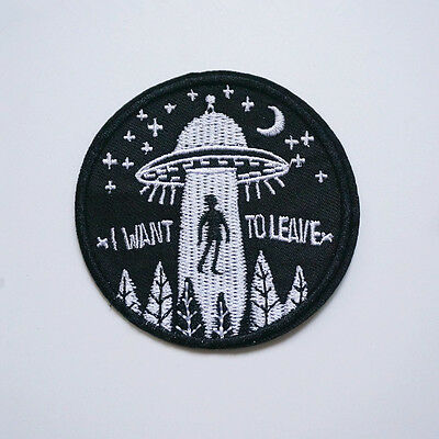 Embroidery UFO Alien Flying Saucer Sew Iron On Patch Badge Bag Hat Applique DIY