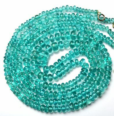 Natural Gem Green Apatite 4-6MM Smooth Bead Necklace Colombian Emerald Color 18""