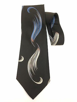 "True Vintage Kipper Necktie 5"" Wide Neck Tie Art Deco Brown Wisp Kitsch Garish"