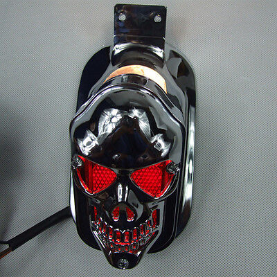 Red Motorcycle Skull Head Lights Brake License Plate Rear Tail Light For Harley