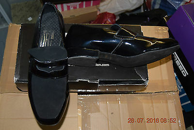 Black Patent and Nubuck Freed Premier ballroom/latin dance shoes - size UK 8.5
