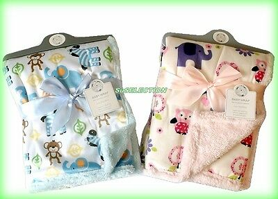 BABY BOY GIRL ANIMAL BLANKET WRAP SUPERIOR QUALITY-PINK OR BLUE-75 x 100CM-NEW