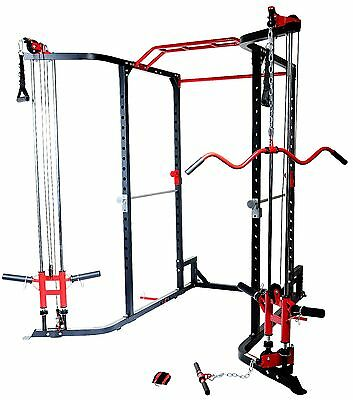 MEGA Power Rack Cable Cross + Lat Attachment Low Row Chin Up Monker Bar