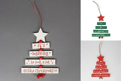 New Christmas Wishes Wooden Hanging Tree Star Red White Green Sass & Belle