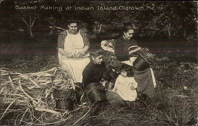 Old Town ME Native Americans Indian Island Basket Makers c1910 Postcard