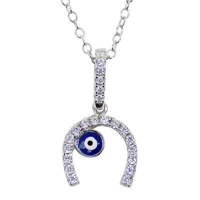Horseshoe Evil Eye Necklace 925 Sterling Silver Chain Link Lucky Amulet Gift