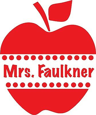 "3"" Personalized Name Apple Teacher Educator Decal for Yeti Ozark Tumbler"