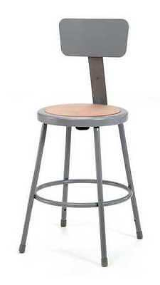 Gray Stool With Backrest, 6224B, National Public Seating