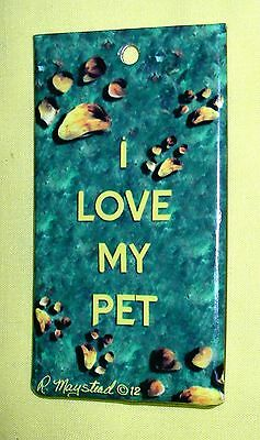 """Full Color """"I LOVE MY PET"""" Luggage Tag/ID Tag / w/Strap & Information Card"""