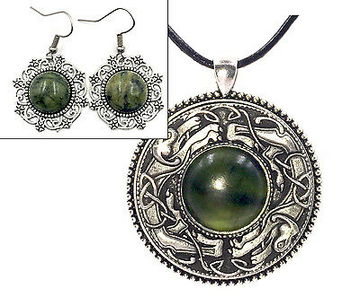 Irish Connemara Marble Earrings & Connemara Marble Mullingar Pewter Necklace Set