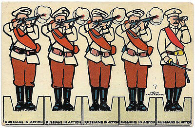 Paper Doll Toy Cutout Postcard Russian Soldiers in Action~98225