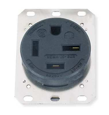 HUBBELL WIRING DEVICE-KELLEMS HBL8460A Receptacle,Single,60A,15-60R,250V,Black