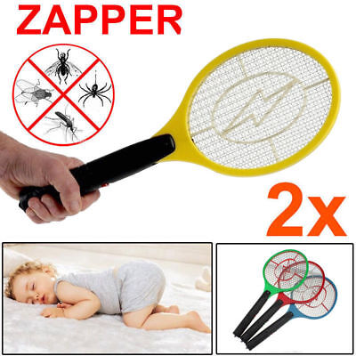 2X Electronic Fly Swatter Mosquito Bug Insect Kill Zapper Racket Safe Easy Use