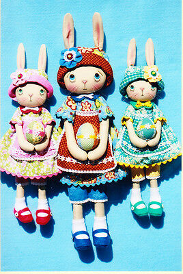PATTERN - Large & Small Homespun Bunnies - cute cloth doll PATTERN
