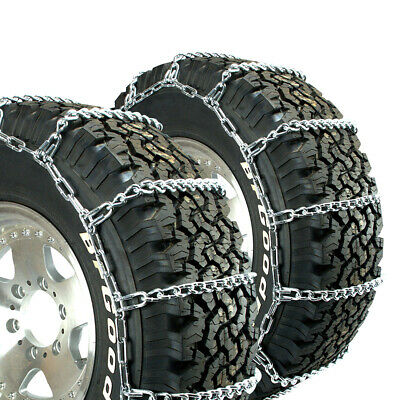 Titan Truck Link Tire Chains Wide/Dual Mount On Road Snow/Ice 8mm 15-19.5