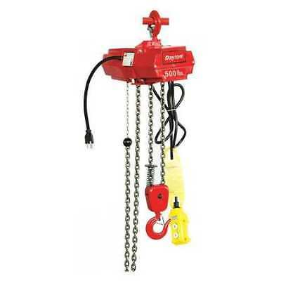 DAYTON 4GU71 Electric Chain Hoist, 500 lb., 10 ft.