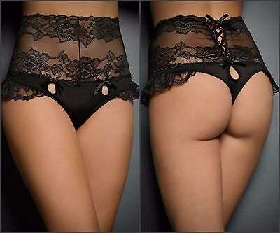 Sexy New Women's Plus Size High Waisted Floral Lace Tie G-string Panty SZ m-3xl