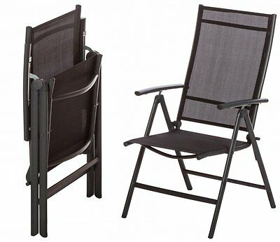 Pair of Cayman Recliner Chairs Anthracite Black Garden Lounge Patio Furniture
