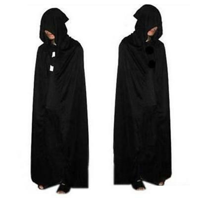 Cloak Adult Hooded Cape Men Women Party Costume Halloween Fancy Dress Black