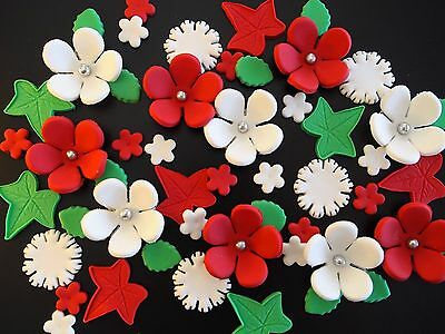 Edible Christmas Cake Decorations CUPCAKE TOPPERS Xmas Flowers SUMMER Sugar