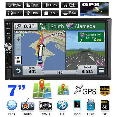 GPS Navigation 7 Touch 2 DIN Car Stereo MP3 MP5 Player Bluetooth Radio USB/TF/FM