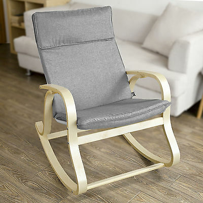 SoBuy® Wooden Rocking Chair Reclining Relax Nursing Armchair, FST15-DG ,Grey, UK