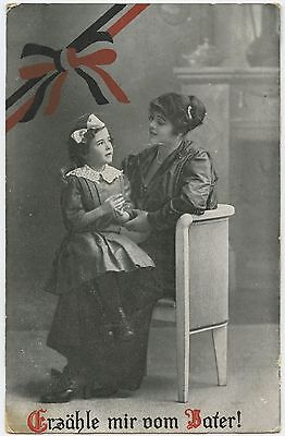 German WW1 Postcard, Child Asking Mother,  Tell Me About Father ! 1916 (103)