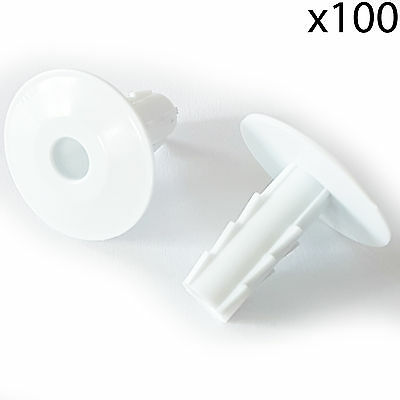 100x 8mm White Single Cable Bushes-Feed Through Wall Cover-Coaxial Hole Tidy Cap