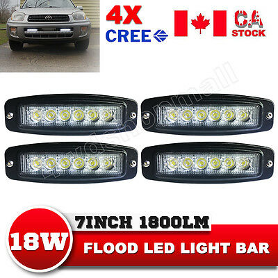 4X 7Inch 18W CREE LED Light Bar Flush Mount Flood Driving Fog Lamp 4WD Truck