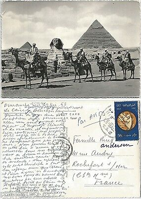 CPSM postcard camels Pyramides The Great Sphinx of Giza and Pyramids EGYPT 419 A